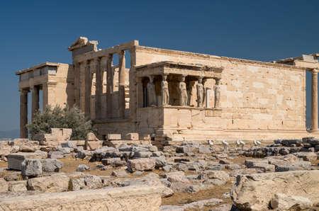 Ancient ruins of Erechtheum Temple, Acropolis, Athens