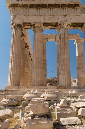 Greece, Athens, the Acropolis, detail of the Parthenon Archivio Fotografico