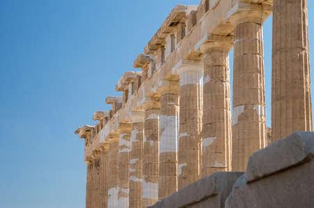 Columns of the Parthenon on the Acropolis of Athens, diagonal view Archivio Fotografico