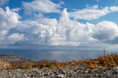 Santorini and Aegean Sea Landscape view from ancient city of Thira Archivio Fotografico
