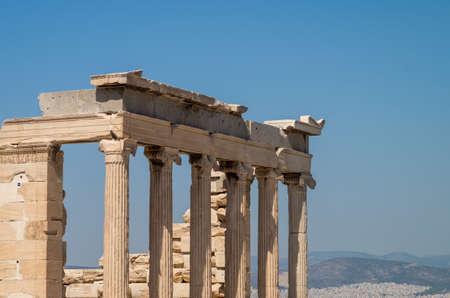 The Erechtheum, The Acropolis, Athens, Greece, top colonnade view