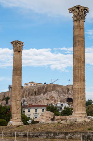 Temple of Olympian Zeus, Athens, Greece, Acropolis on the background