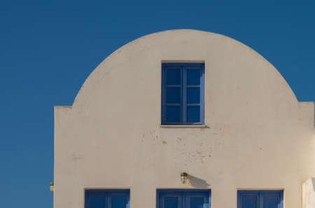 Blue windows in Santorini. Oia Village, Greece Archivio Fotografico