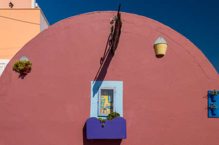Traditional Greek house from the Cyclades island of Santorini Archivio Fotografico