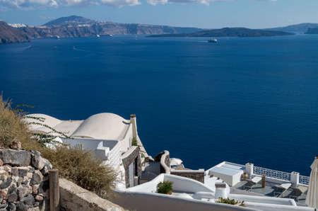 The sea view terrace, Santorini island, Greece Archivio Fotografico