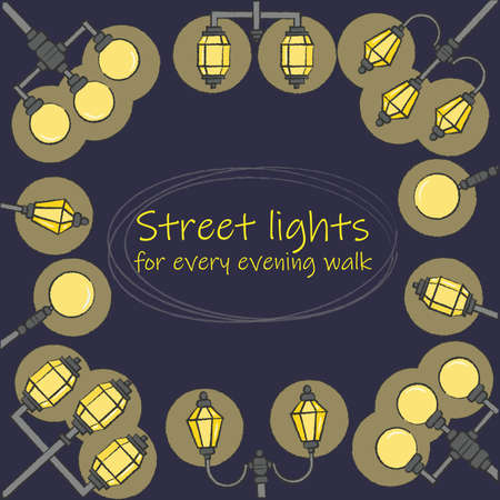 Shining street lights making a frame with a place for text inside. Flat colorful design. Vector illustration of traditional street lamps.