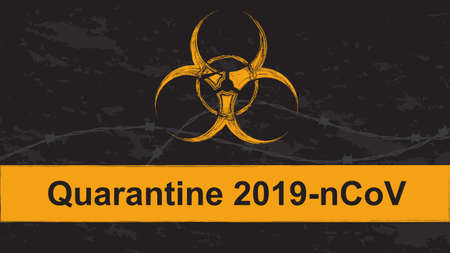 Orange biohazard sign with inscription Quarantine 2019-nCoV in grunge style. Vector illustrator. Vectores