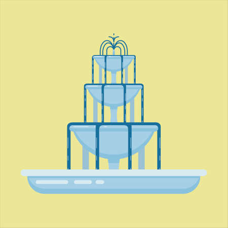 Flat vector illustration of fountain with three bowls making a cascade. Element for city, town illustration.