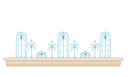 Flat vector illustration of long city fountain with nine water jets. Element for city, town illustration. Isolated on white background 일러스트