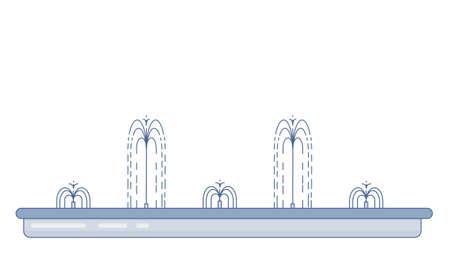 Flat vector illustration of long city fountain with five water jets. Element for city, town illustration. Isolated on white background