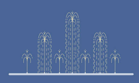 Flat vector illustration of long city fountain with nine water jets based on the ground. Element for city, town illustration. Isolated on white background 일러스트