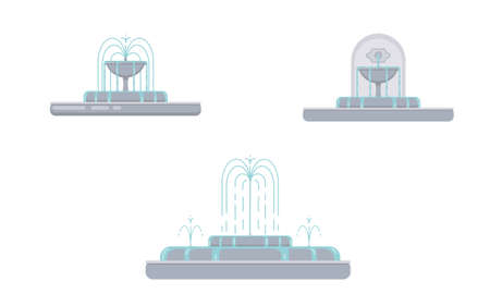 Flat vector illustration of fountain with bowls, cascade and water splash. Element for city, town illustration. Isolated on white background