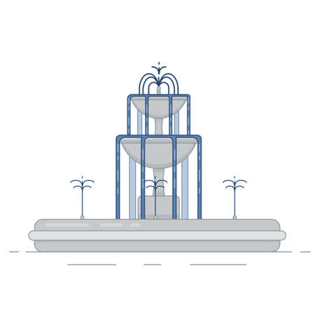 Flat vector illustration of fountain with two bowls and water splash. Element for city, town illustration. Isolated on white background