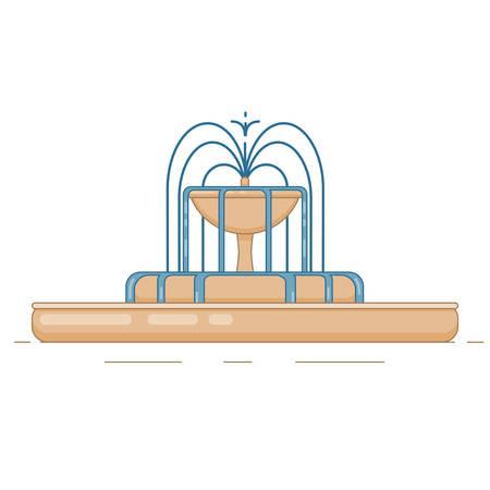 Illustration vectorielle plane de fontaine avec bol, cascade et éclaboussures d'eau. Élément pour la ville, illustration de la ville. Isolé sur fond blanc