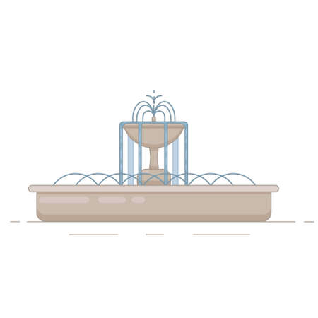 Flat vector illustration of fountain with bowl and water splash. Element for city, town illustration. Isolated on white background