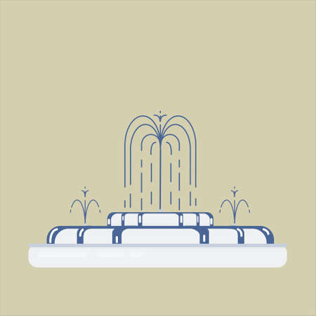 Flat vector illustration of fountain with cascade and water splash. Element for city, town illustration.
