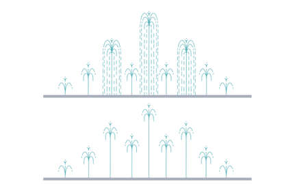 Flat vector illustration of long city fountain with nine water jets based on the ground. Two positions of water splash. Element for city, town illustration. Isolated on white background 일러스트