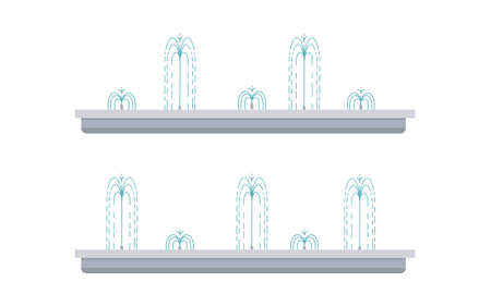 Flat vector illustration of long city fountain with five water jets. Two positions of water splash. Element for city, town illustration. Isolated on white background Ilustrace