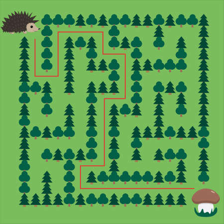 Hedgehog and Mushroom Maze. Educational game for children. Help the hedgehog find the mushroom - Maze puzzle with solution