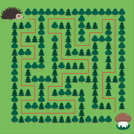 Hedgehog and Mushroom Maze. Educational game for children. Help the hedgehog find the mushroom - Maze puzzle with solution Фото со стока - 139839697