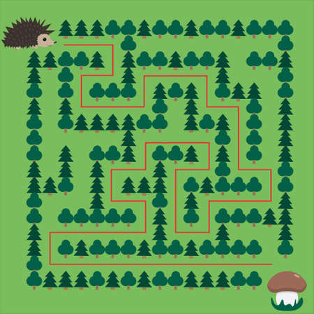 Hedgehog and Mushroom Maze. Educational game for children. Help the hedgehog find the mushroom - Maze puzzle with solution Фото со стока - 139839743