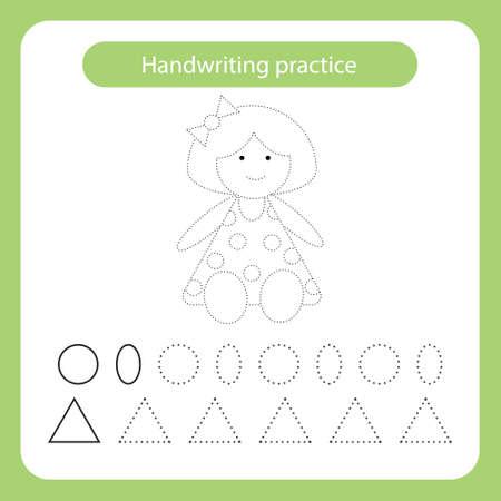 Doll. Kids toys theme. Handwriting practice sheet. Vector illustration