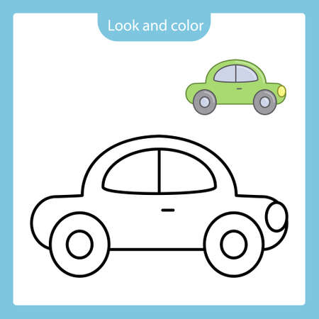 Look and color. Coloring page outline of car toy with example. Simple shapes. Vector illustration, coloring book for kids.