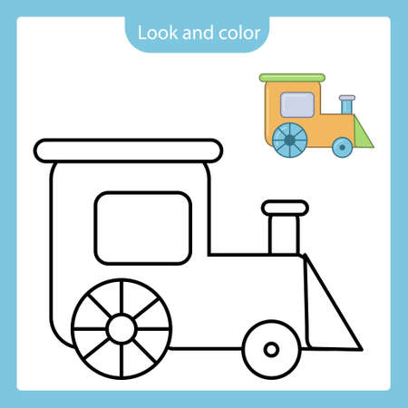 Look and color. Coloring page outline of train toy with example. Simple shapes. Vector illustration, coloring book for kids.