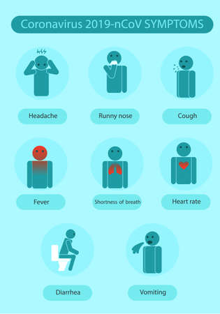 Coronavirus symptoms icons infographics 2019-nCoV. Vector infographic about infection. Vector Illustration
