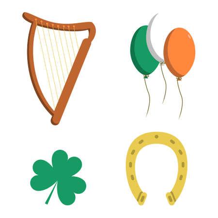 Saint Patrick s Day Icon Set Clover Leaf, Horseshoe, Balloons, Harp. Vector illustration flat design Ilustração