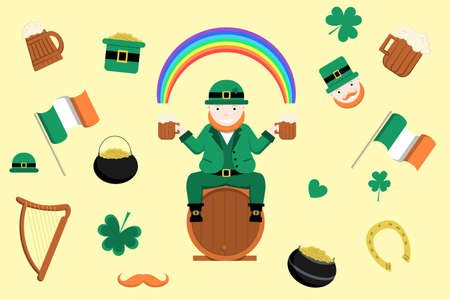 St. Patric s day. Happy holiday set with leprechaun holding two pints of beer and sitting on a barrel. Symbols of Ireland isolated for holiday decoration.