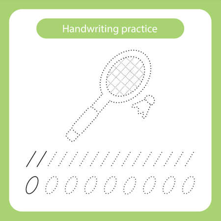 Racket and shuttlecock. Kids toys theme. Handwriting practice sheet. Vector illustration