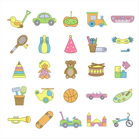 Set of 25 toys icons. Flat vector illustration. Isolated on white background