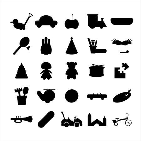 Set of 25 toys silhouettes. Flat vector illustration. Isolated on white background