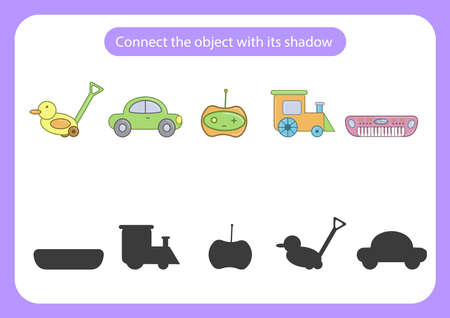 Worksheet connect the toy with its shadow. Educational game for children. Trains attention and concentration. Vector illustration