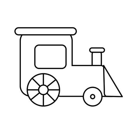 Coloring page outline of train toy. Simple shapes. Vector illustration, coloring book for kids.