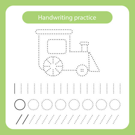 Train. Kids toys theme. Handwriting practice sheet. Vector illustration