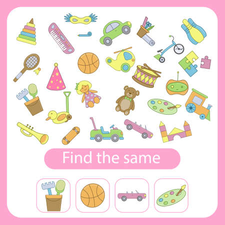 Find the same toys as the ones in the squares. Educational game for children. Trains attention and concentration. Vector illustration Illusztráció