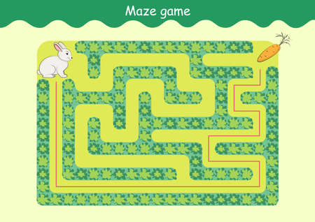 Rabbit and Carrot Maze. Educational game for children. Help the rabbit find the carrot - Maze puzzle with solution