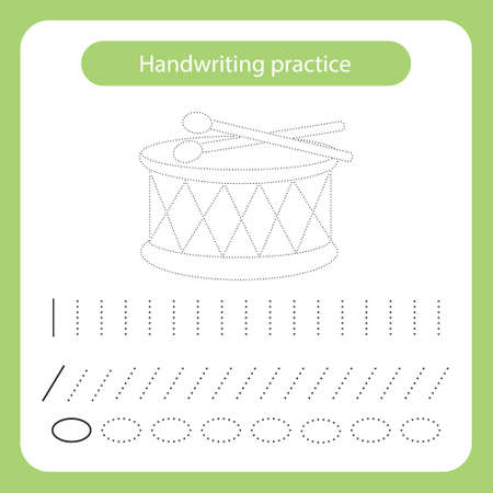 Drum and sticks. Kids toys theme. Handwriting practice sheet. Vector illustration
