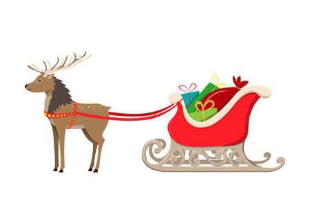 Reindeer and Santa Claus sleigh wiht bag and presents. Vector illustration isolated on white background. Stock Illustratie