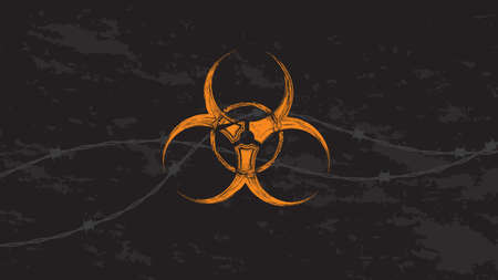 Orange biohazard sign with barbed wire in grunge style. Vector illustrator for background.