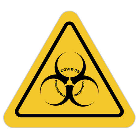 COVID-19 Biological hazard icon, with black biohazard symbol on yellow triangular sign. Vector illustration on white background