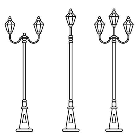 Streetlight vintage lamp icons isolated on white background. Flat thin line design. Vector illustration of traditional street lamps.