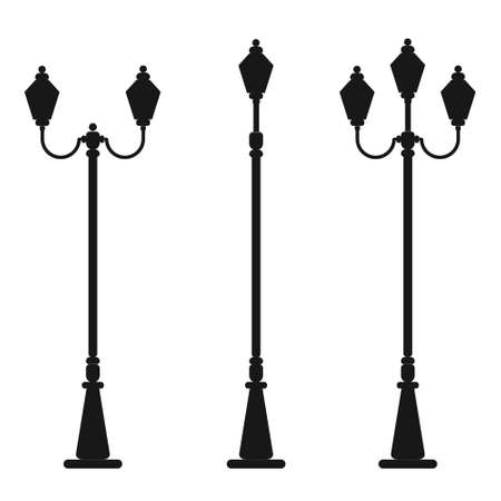 Streetlight vintage lamp silhouette isolated on white background. Vector illustration of traditional street lamps. Illustration