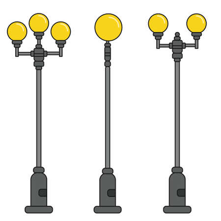 Streetlight vintage lamps with turned on light. Icons isolated on white background. Flat colorful design. Vector illustration of traditional street lamps.
