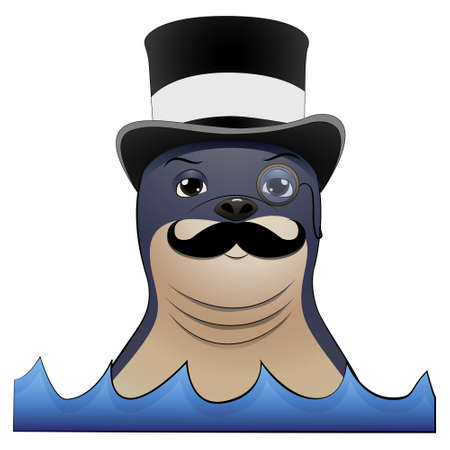 Seal animal wiith mustache, monocle and a hat on his head. Cartoon vector illustration on white background