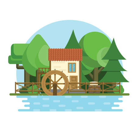 Water mill on the river landscape with forest on the background. Flat vector illustration.