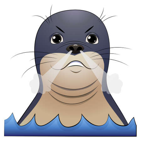Angry seal head with steam coming from the nose. Cartoon vector illustration on white background.