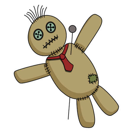 Voodoo doll with tie on the neck pierced with pin isolated on white background. Vector cartoon illlustration.